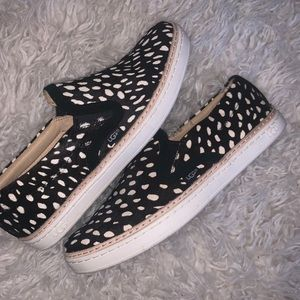Black white soleda calf hair sneakers 6.5 Ugg